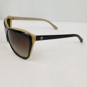 Chanel Black Beige Cat Eye Gradient Sunglasses